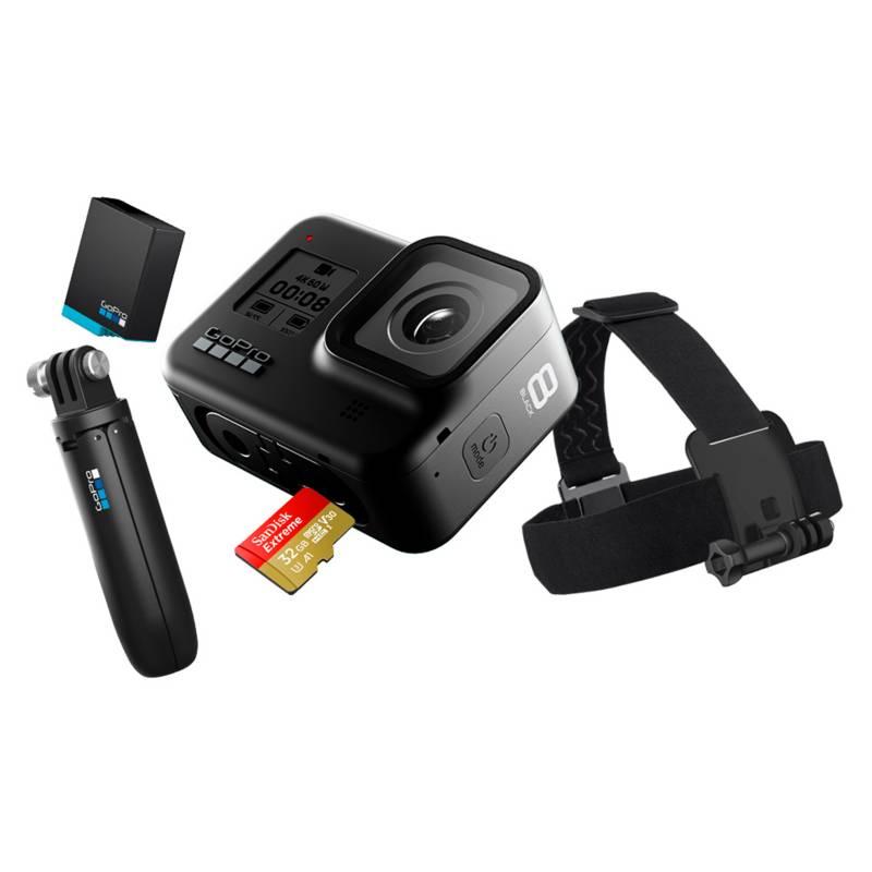 gopro - GoPro Hero 8 Black Bundle (Empuñadura Shorty, correa para la cabeza, tarjeta 32 GB y batería de repuesto)
