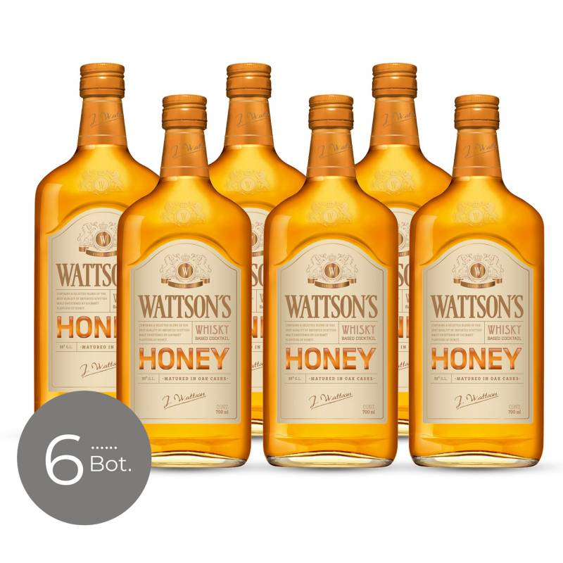 WATTSONS - Whisky Honey 35 gr 700 cc x 6 Unidades