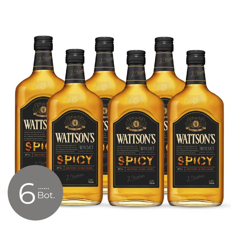 WATTSONS - Whisky Spicy 35 gr 700 cc x 6 Unidades