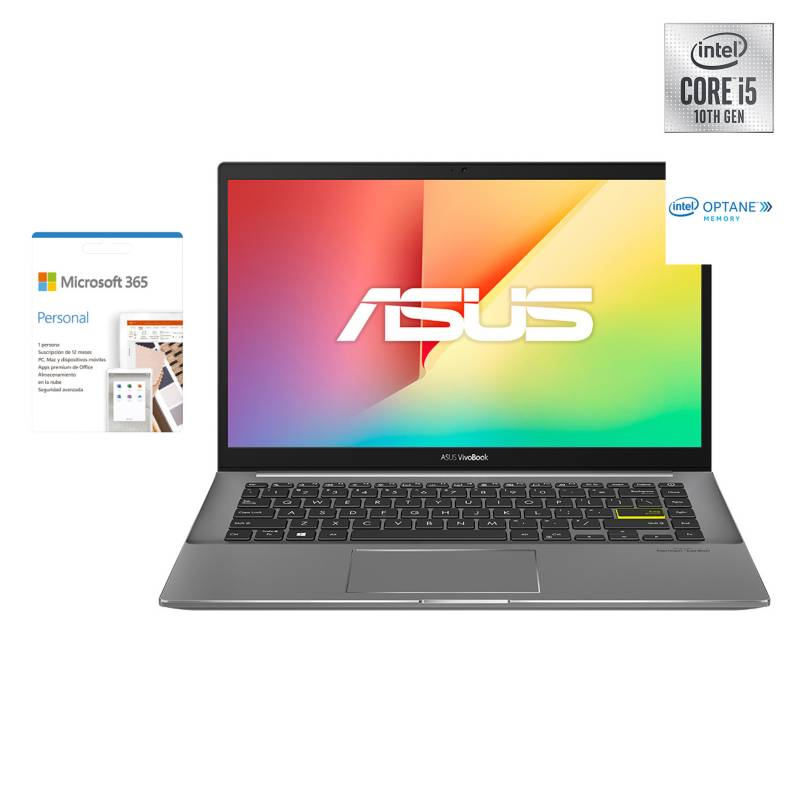 "ASUS - Notebook VivoBook S14 S433 Intel Core i5-10210U 8GB RAM + 32GB Intel Optane 512GB SSD 14"" + 1 año Microsoft 365"