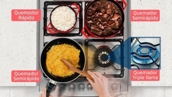 Quemador triple llama con la cocina 56 DXQ de Fensa