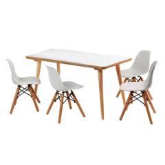 DE PIES A CABEZA - Set De Mesa Rectangular Y 4 Sillas Blancas Eames