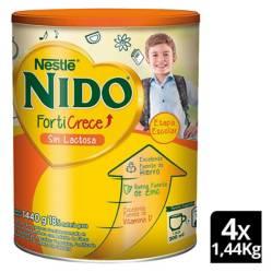NIDO - Leche Nido Forticrece sin Lactosa 1.440G X4 Tarros