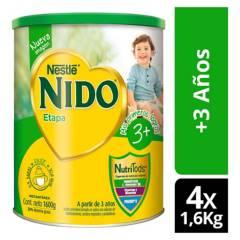 NIDO - Leche Nido 3  Protectus 1600g Tarro X4