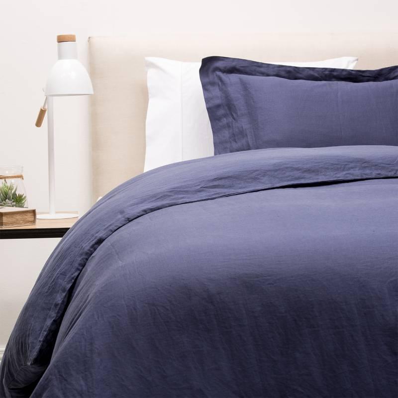 BASEMENT HOME - Funda de Plumón Lisa Lino Azul