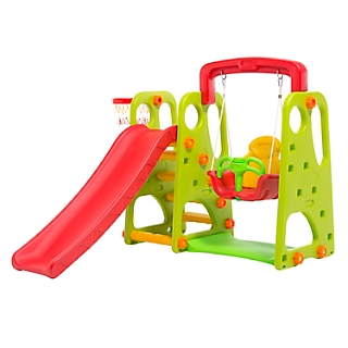 plastic slide with swing green