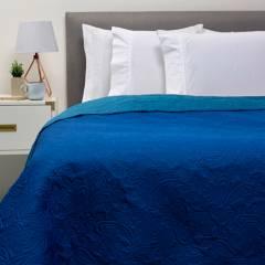 AMBIENTA - Cubrecama Bicolor Azul