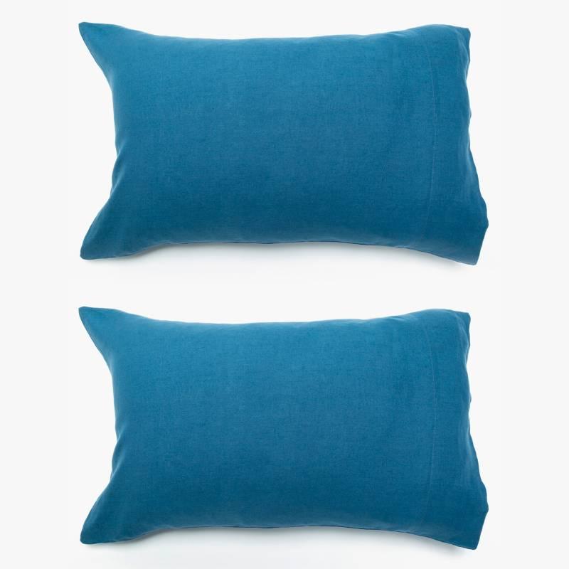 BASEMENT HOME - Funda de Cojín 100% Lino Azul 50x70 cm