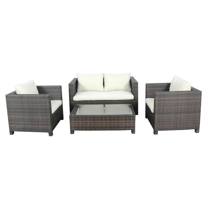 Basement Home - Juego de Living Cerdeña Sofa 2+1+1 + Mesa de centro