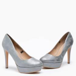 Zapato Mujer Taco Alto Gris