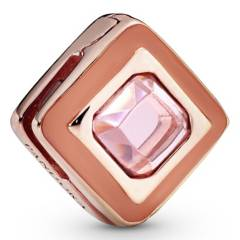 PANDORA - Charm clip fijo cuadrado rosado