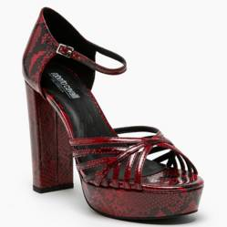 Sandalia Mujer Taco Medio Rojo