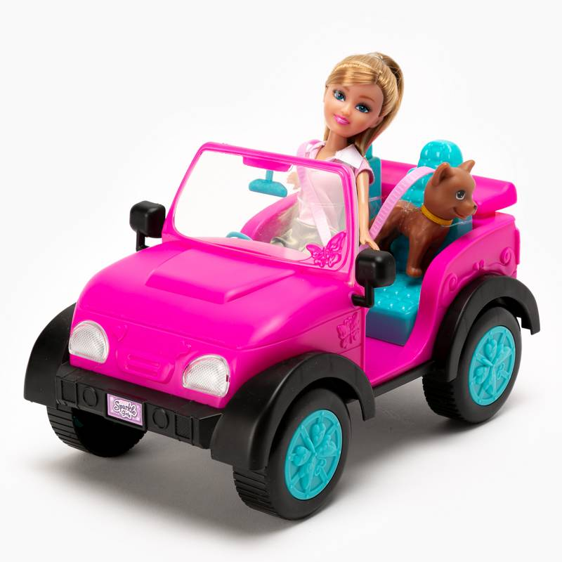 Sparkle Gi - Jeep con muneca y mascota