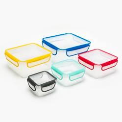 Mica - Set x5 Contenedores Plástico con Tapa de Silicón