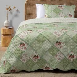 Textil Vina - Cubrecama Patch Sherpa Verde