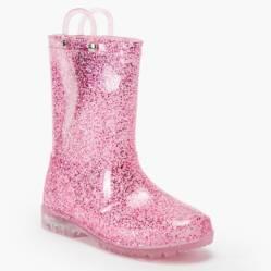 Yamp - Bota de Lluvia Niña Rosada Glitter Luces Bo Rain3 Gli