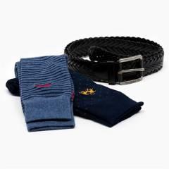 LA MARTINA - Pack Cinturón de cuero + calcetin algodón Supima Hombre