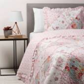 Textil Vina - Cubrecama Patch Rosado 1,5 Plazas