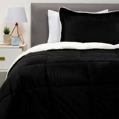 BASEMENT HOME - Plumón Sintético Bicolor Mink Sh Negro