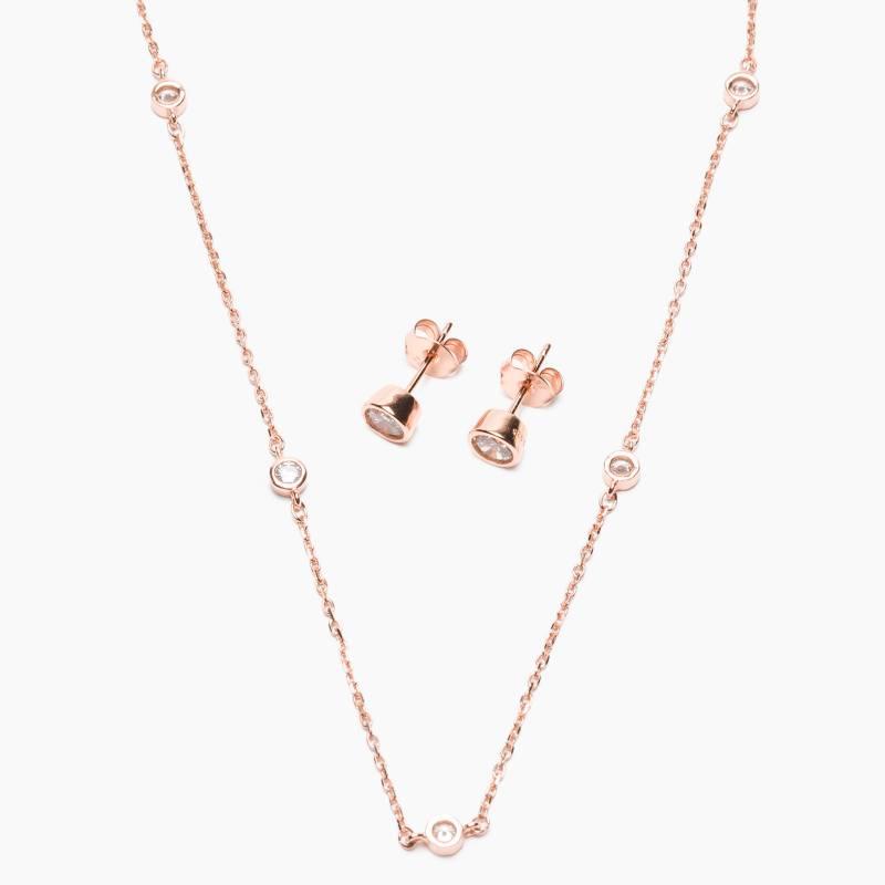 CECILIA BOLOCCO - Collar y aros plata 925 bañado oro rosa con cristales Cecilia Bolocco
