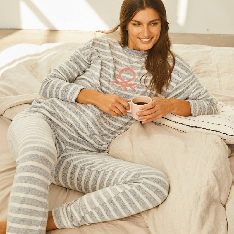 BENETTON - Benetton Pijama Mujer Velvet Rayas