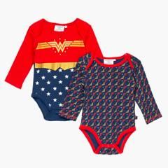 DC SUPER HERO GIRLS - Body Pack De 2 Unidades Algodón Mujer Maravilla Bebé Niña