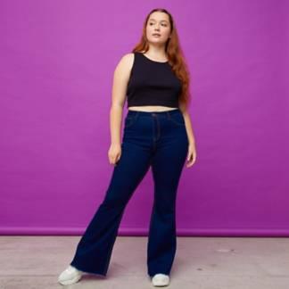 SYBILLA - Jeans Flare Tiro Medio Mujer