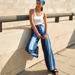 BASEMENT - Jeans Wide Leg Patchwork Tiro Alto Mujer