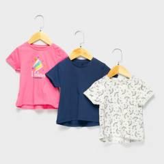 YAMP - Polera Pack De 3 Unidades Algodón Bebé Niña