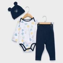 STD CHARACTERS - Conjunto Buzo 3 Piezas Body + Pantalón + Gorro Mickey Algodón Bebé Niño