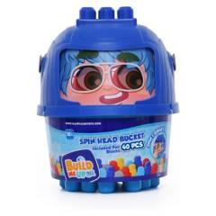 BUILD ME UP - Bloques Maxi Bucket Azul Gira La Cabeza 40Pcs