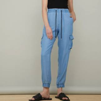 BASEMENT - Jeans Tencel Jogger Tiro Alto Mujer
