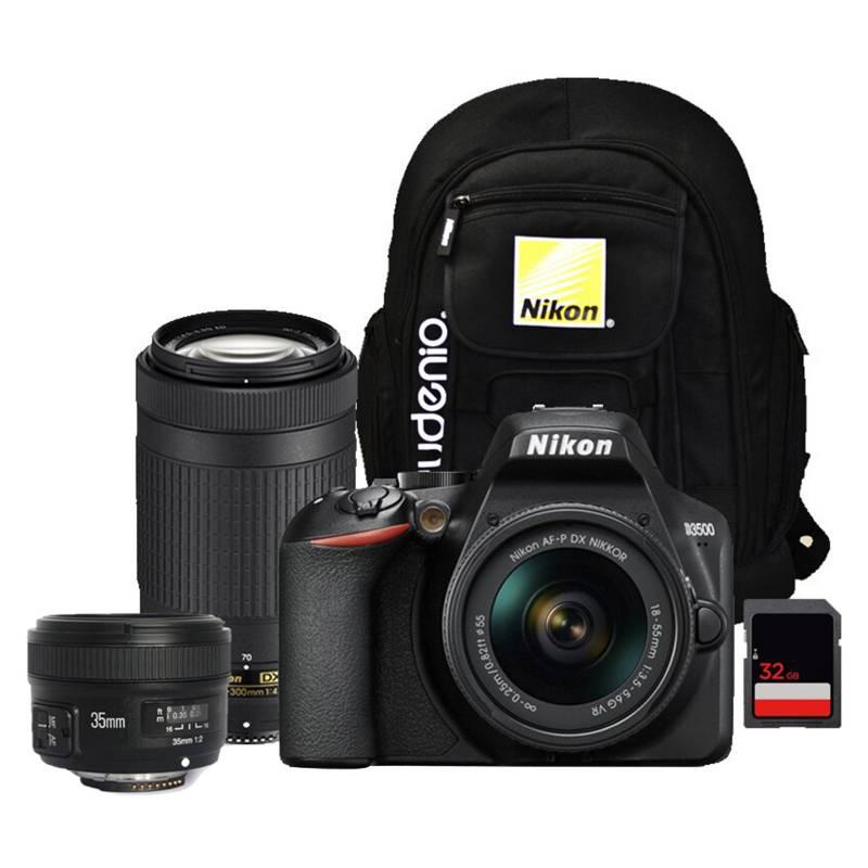 Nikon - Nikon D3500  Lentes 18-55Mm  70-300Mm  35Mmyong