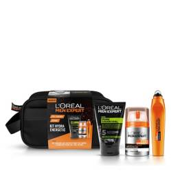 MEN EXPERT - Set Hydra Energetic: Crema Hidratante Anti Fatiga + Roll On Ojos + Gel Limpiador Charcoal