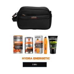 MEN EXPERT - Set Hydra Energetic: Crema Hidratante Anti Fatiga + Roll On Ojos + Gel Limpiador Charcoal