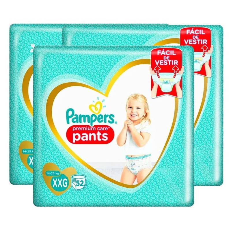 Pampers - 3Pañales Pampers Pants Premium Care 144  Talla Xxg