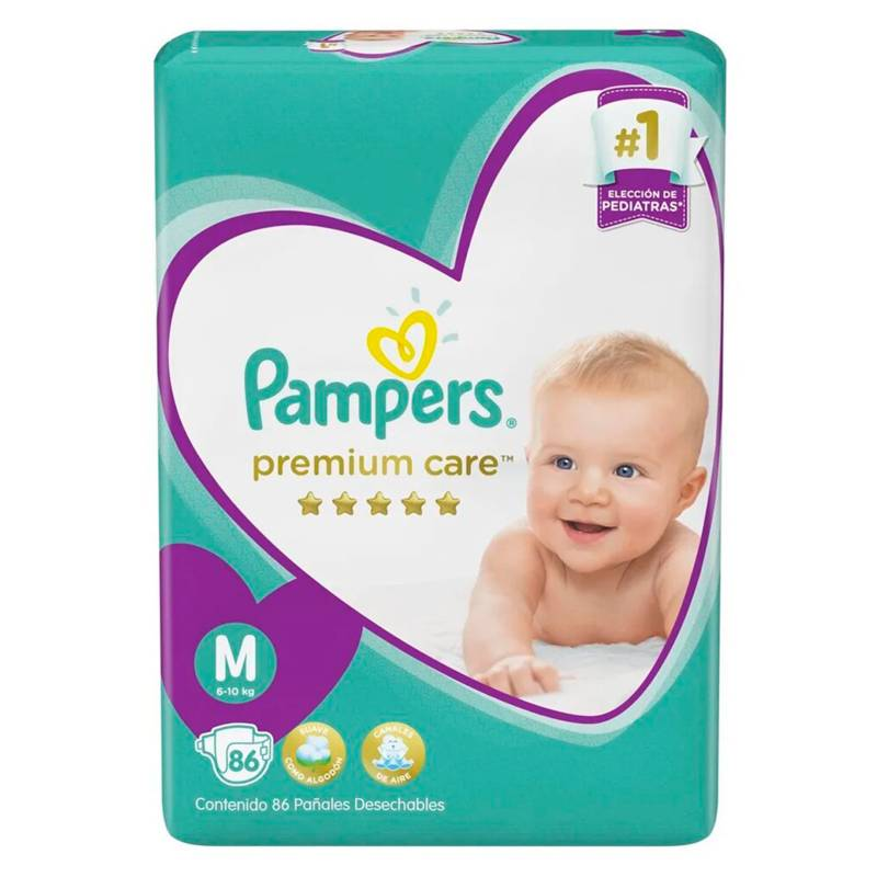 Pampers - 3 Pañales Pampers Premium Care 258 Uni Talla  M