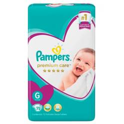 Pampers - 3 Pañales Pampers Premium Care 216 Unid Talla G
