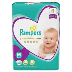 Pampers - 4 Pañales Pampers Premium Care 344 Uni Talla M