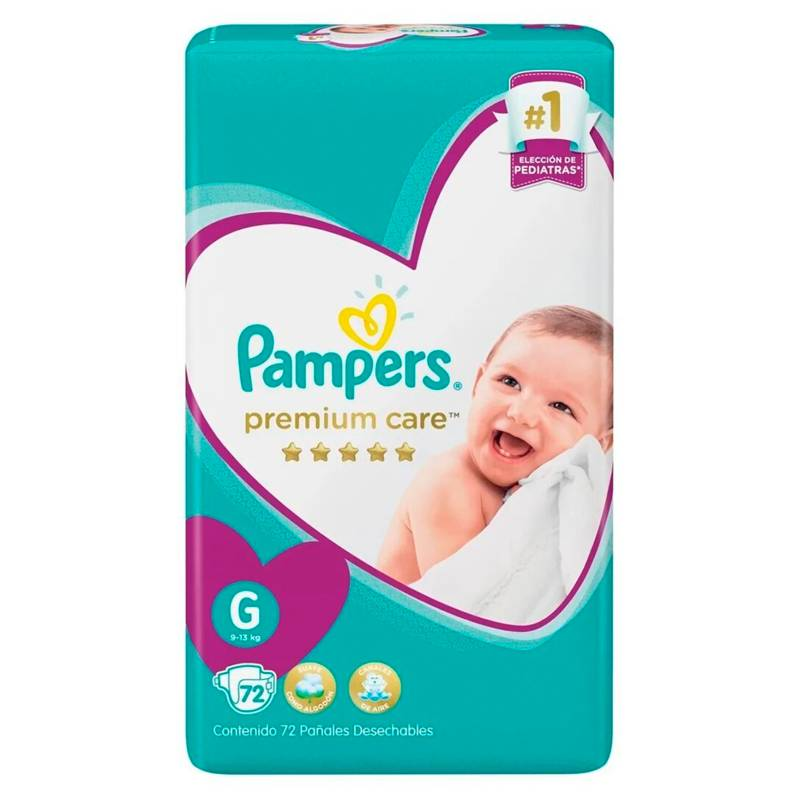Pampers - 2 Pañales Pampers Premium Care 144 Unid Talla G