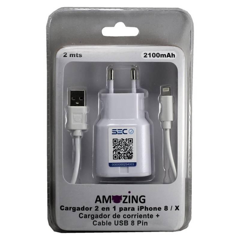 AMAZING - Cargador Usb Certificado Sec/ 2 en 1 Iphone