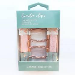 LA PAPELARIA - Caja Doble Clips Rose Gold Figuras zigzag