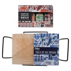 CONDIMENTOS NAU - Pack Parrilla y Tabla de Sal con Soporte 30 x 20