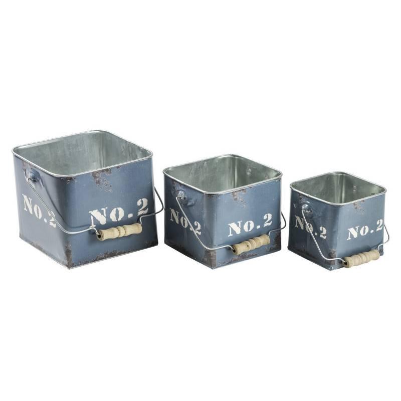 SOHOGAR - Set de 3 Contenedores Vintage Cajas de Metal Azul