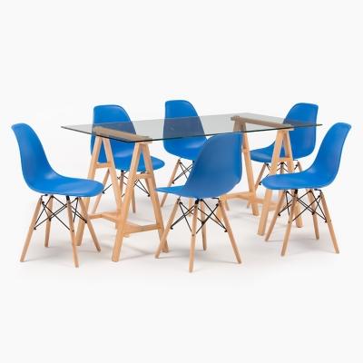 02a0155f9 Juego de Comedor 6 Sillas Triada Azul