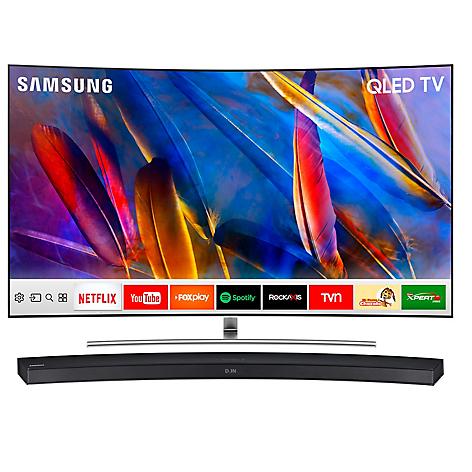 samsung combo qled 65 q8c 4k uhd smart tv curvo soundbar hw m4500. Black Bedroom Furniture Sets. Home Design Ideas
