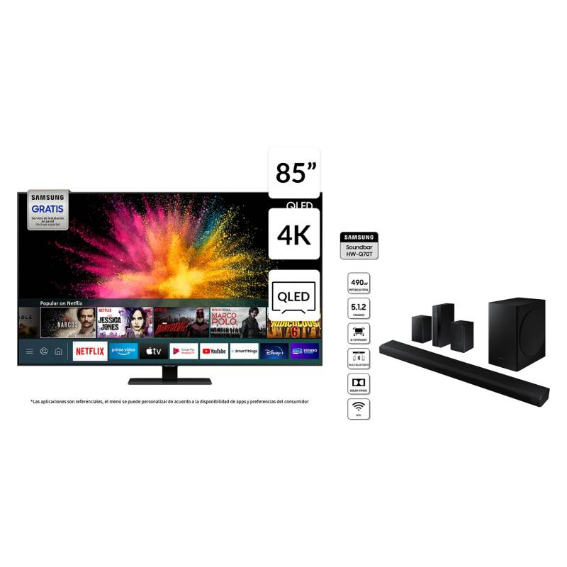 """QLED 85"""" QN85Q80T UHD Smart TV + Soundbar HW-Q70T"""