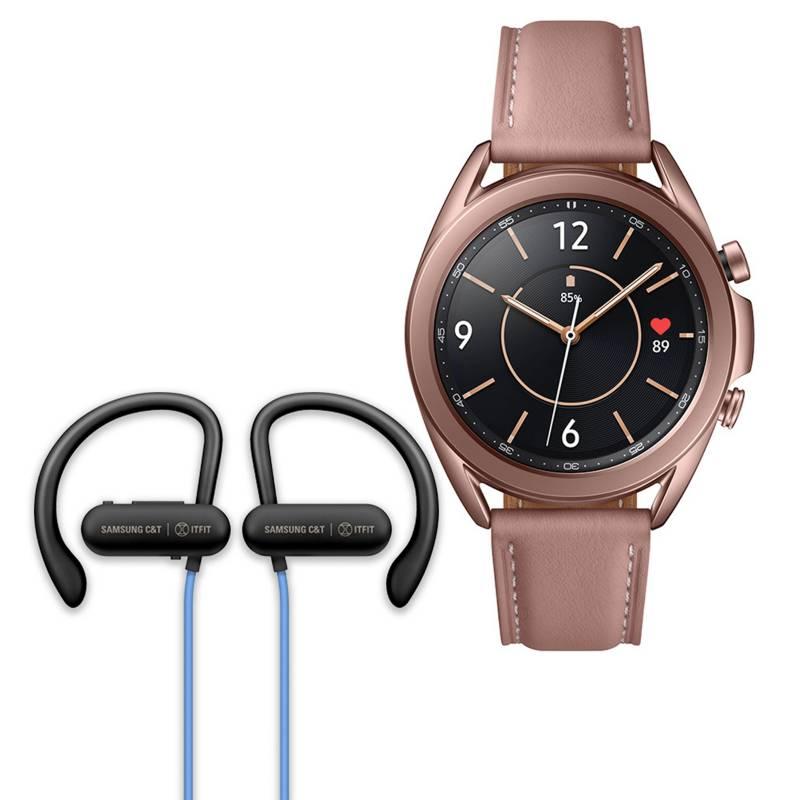 - Galaxy Watch 3 41mm Mystic Bronze + audifono samsung Ifit Azul