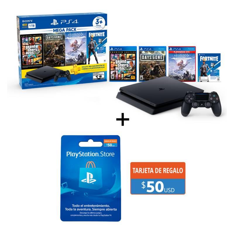 PLAYSTATION - Combo PS4 Slim 1TB Mega Pack 6 + Tarjeta PlayStation 50US Gift Card