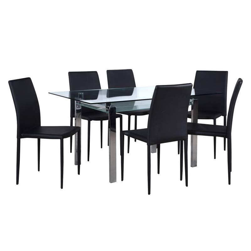 - Juego de Comedor mesa Calem con 6 sillas Piana